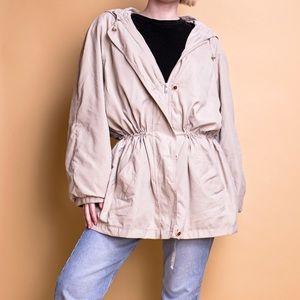 Vintage 90s tan drawstring windbreaker raincoat